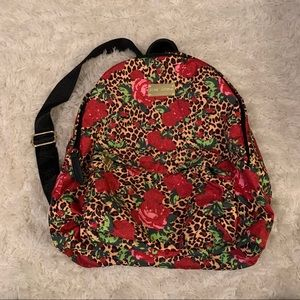 Betsey Johnson rose and cheetah backpack